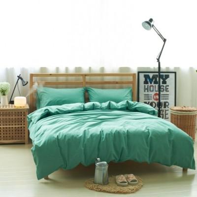 Зеленое постельное белье из льна с хлопком, артикул LE-09