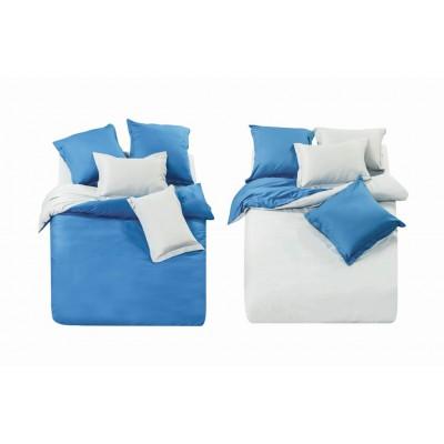 Постельное белье синее из сатина, артикул L-8