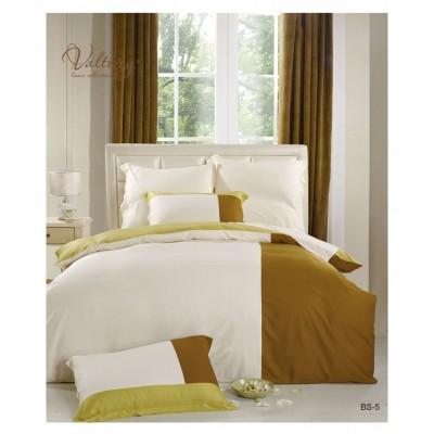Белое с коричневым постельное белье из сатина(100% бамбуковое волокно), артикул BS-05