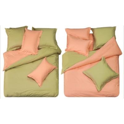 Постельное белье зеленое с розовым из сатина, артикул L-10