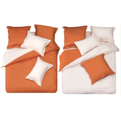 Постельное белье оранжевое с белым из сатина, артикул L-12