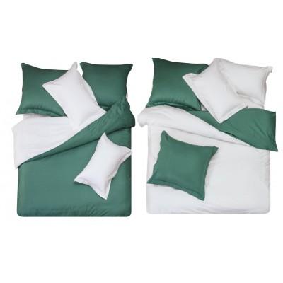 Постельное белье темно зеленое с белым из сатина, артикул L-13