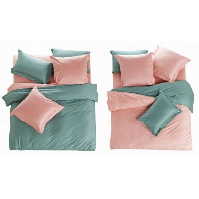 Постельное белье бирюзово-розовое из сатина, артикул L-3