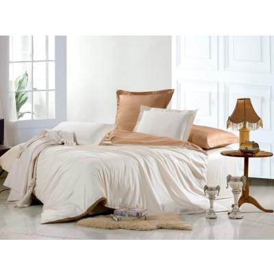 Постельное белье белое с коричневым из сатина, артикул OD-02
