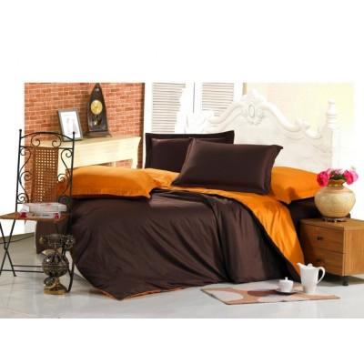 Постельное белье оранжево-шоколадное из сатина, артикул OD-03