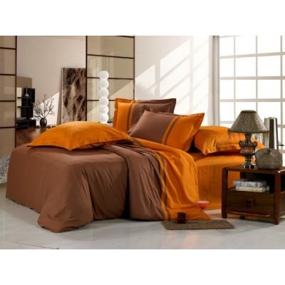 Постельное белье коричнево-оранжевое из сатина, артикул OD-10