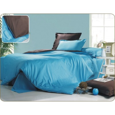 Постельное белье голубое из сатина, артикул OD-19