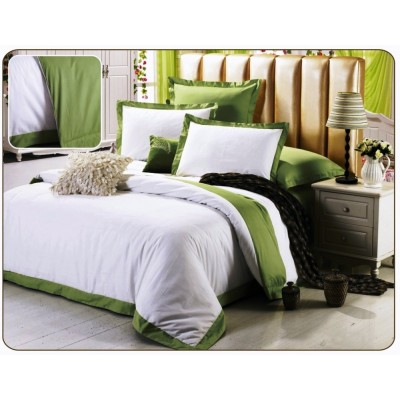 Постельное белье белое с зеленым из сатина, артикул OD-33