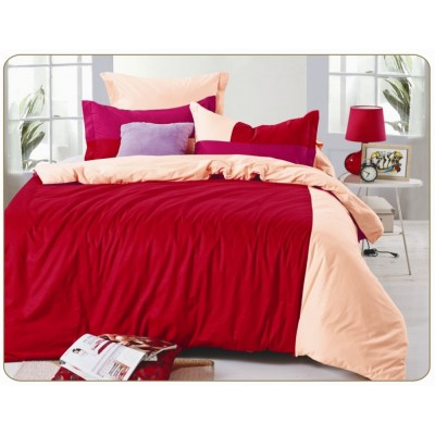 Постельное белье красное с розовым из сатина, артикул OD-36