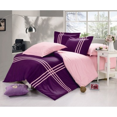 Постельное белье темно фиолетовое из сатина, артикул OD-39