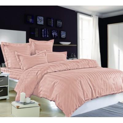Постельное белье розовое страйп сатин, артикул OD-49